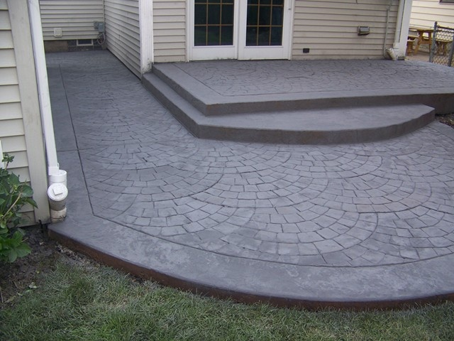 stamped concrete raised patio | patio, deck and screen porch ideas ... - Raised Concrete Patio Ideas