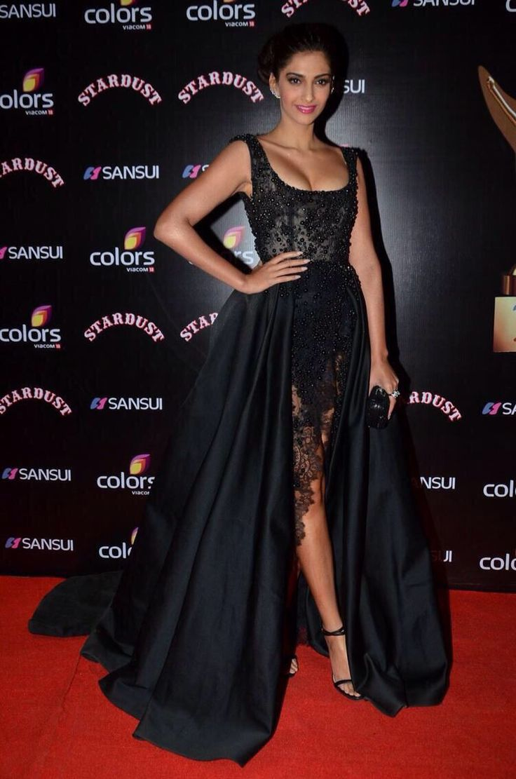 Sonam Kapoor wears ELIE SAAB Haute Couture Fall Winter 2014-15 to 'The Star Dust Awards' in India.