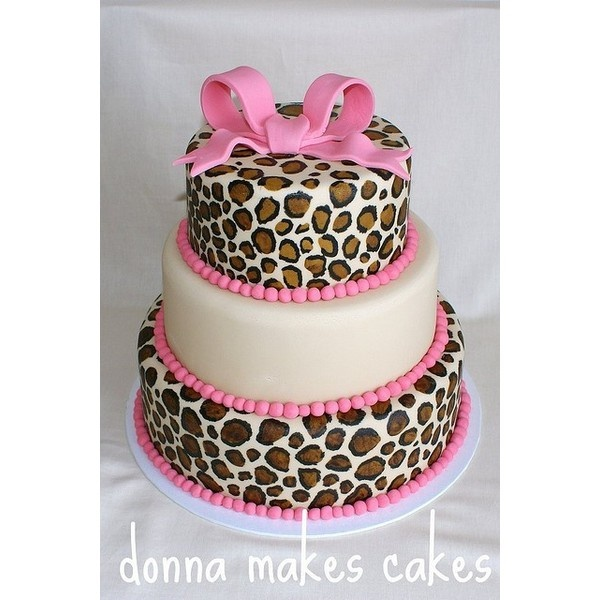 Leopard print pink cake. Cute baby shower cake