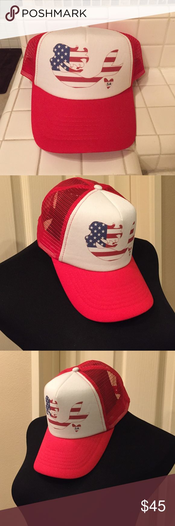 American flag mermaid trucker hat Purchased at a fun mermaid market but I just don't wear it enough. I do love the hat so I will not be very negotiable on the price. I may just keep it if it does not sell. 2 Legged Mermaid Accessories Hats