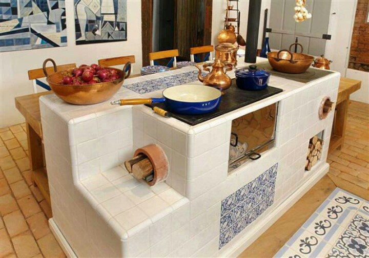 Cocina integrada de le a con horno plancha y mesa for Planos para cocina de lena