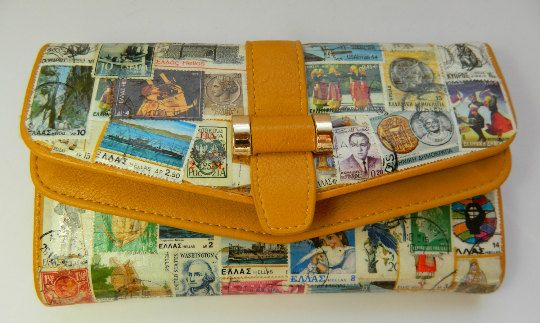 Postage Stamps Women Wallet  Handmade Vintage Collage Art Yellow by RetroBackyardSales on Etsy