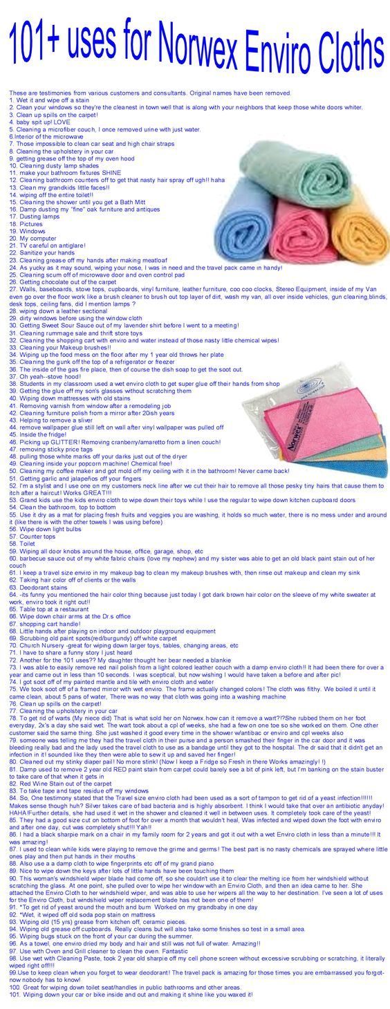 101 Uses for the Norwex Enviro Cloth copied from