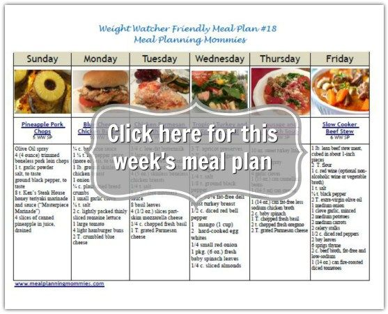 Weight Watcher friendly meal plan #18. Comes with free ...