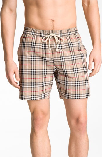 Burberry Brit Check Print Swim Trunks available at #Nordstrom