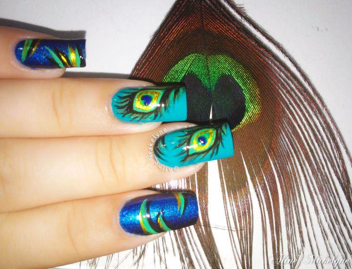 Unhas Decoradas pena de pavão – Nail art Peacock Feather