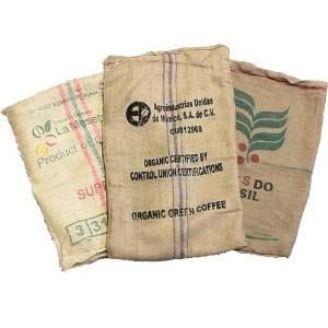 Lot of 15 fifteen Used Coffee Bean Burlap Bags  by LoVermont802