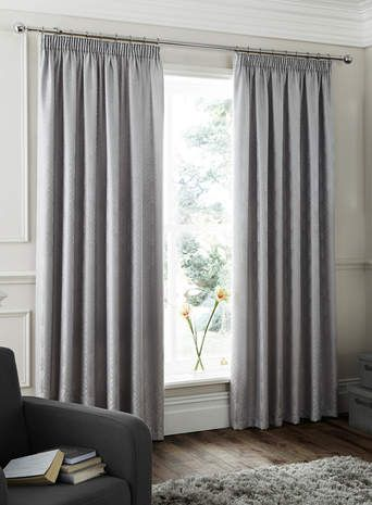 Silver Loxley Jacquard Pencil Pleat Curtain