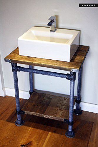 Vorhut 'Kraken' - Vintage Industrial Scaffold Board Counter Top Vanity in Tarnished Metal with Flanged Feet (Gerollter Metall-Industrie-Gerüst-Tisch mit Flanschfüßen): Amazon.de: Handmade