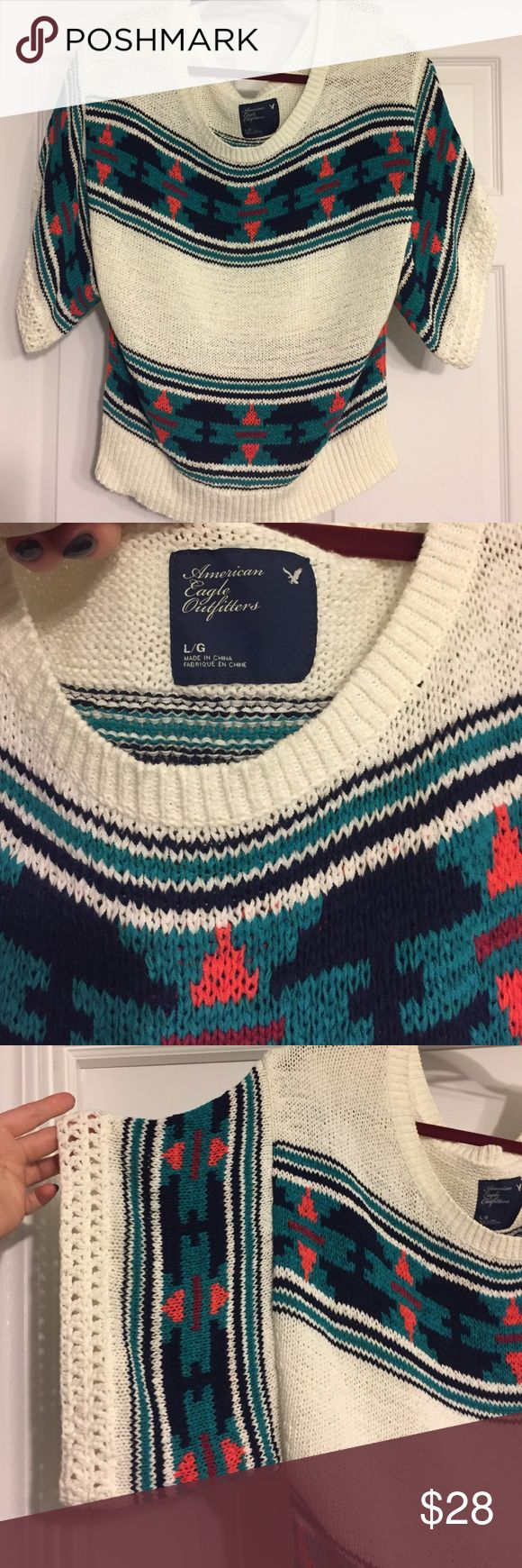 American Eagle Outfitters Sweater Awesome Aztec print AE Outfitters sweater. Crochet trim on the sleeves. Size Large. In NWOT condition. Super, super cute! American Eagle Outfitters Sweaters