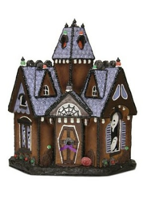 Love the coffin-shaped door. Spooky Retreat Decorative Gingerbread House