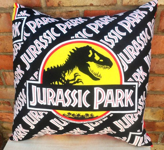Jurassic Park Vintage Dinosaur Cushion Handmade by Alien Couture on Etsy, £14.99