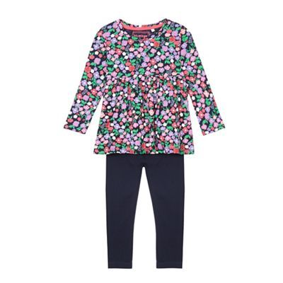 bluezoo Girls' multi-coloured floral print tunic and navy leggings set | Debenhams