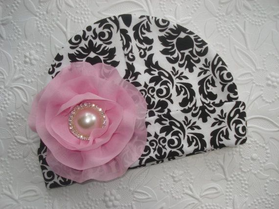 Black Damask Infant Baby Girl Beanie Hat with by MyLolliflopsLLC, $9.99