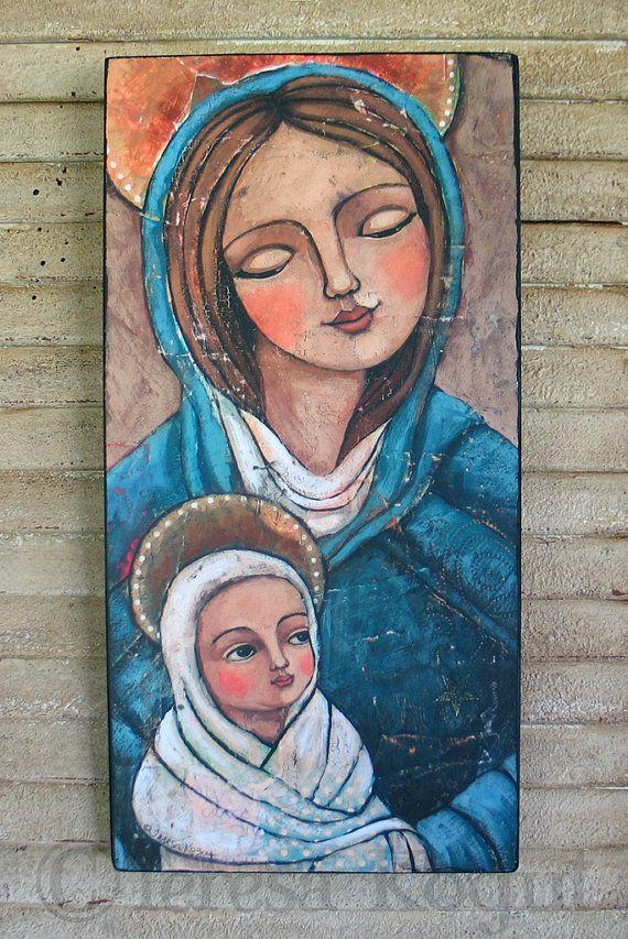 Mary and Jesus 7x14 print on wood by Teresa Kogut on Etsy, $45.00