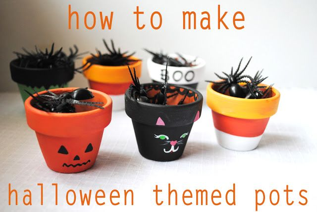 Halloween Flower Pot Crafts | Peachy Cheek: How to make Candy Corn and Halloween Themed Flower Pots