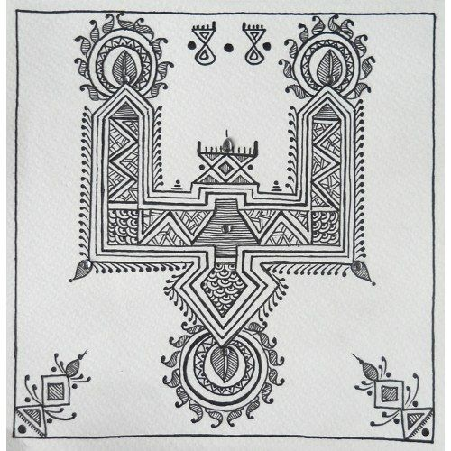 Black and white Mandana painting of 'paglya' type with kundan detailing
