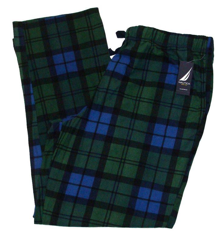 NEW Nautica Mens Fleece Pants Pajama Lounge Sleepwear Plaid Green Blue Sz XL $58 #Nautica #LoungePants