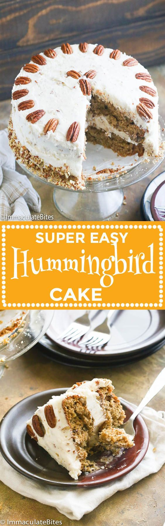 Hummingbird Cake – a super easy, indulgent and stick-to-your-fork moist cake featuring the tropical combination of bananas and crushed pineapples with toasted pecans; generously layered, covered with cream cheese frosting. A classic Southern cake gem! Forget what you're thinking 'cause this cake is not made with hummingbirds. A Southern favorite, this cake …