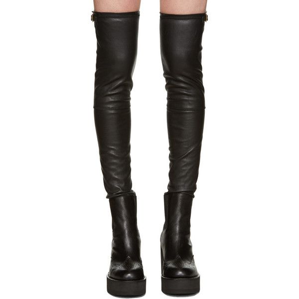 Sacai Black Brogue Over-the-Knee Boots (35.940 RUB) ❤ liked on Polyvore featuring shoes, boots, black brogue boots, brogue boots, platform brogues, black over the knee boots and above-knee boots
