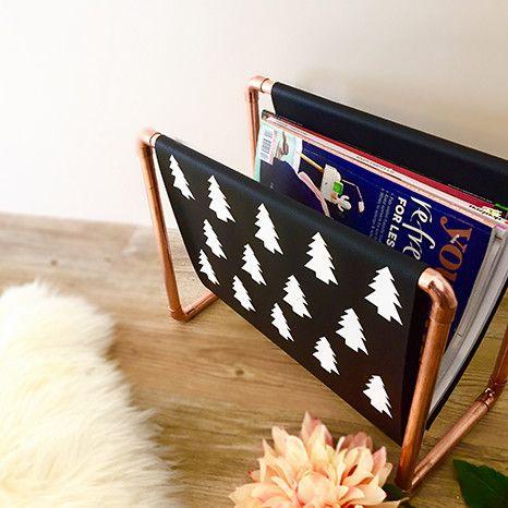 DIY Kit: Copper Magazine Rack - black fabric with white nordic trees - scandi style