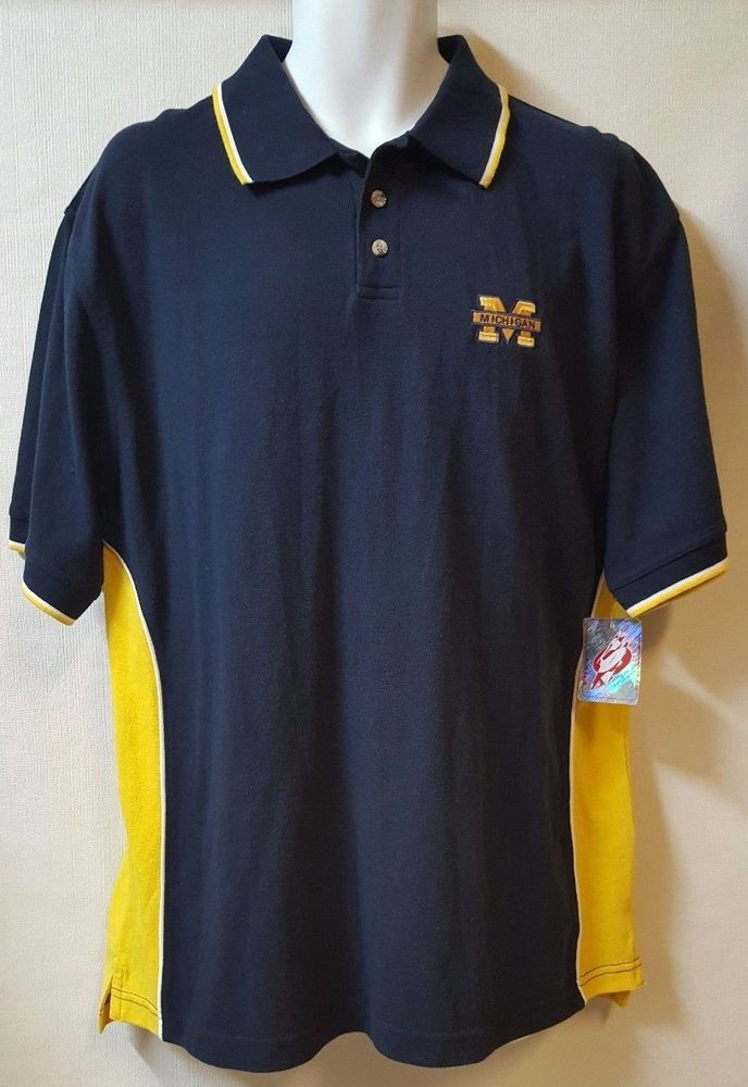 University of Michigan Polo Shirt Size Large Blue Yellow Chest Logo Spike Sports #spike #MichiganWolverines