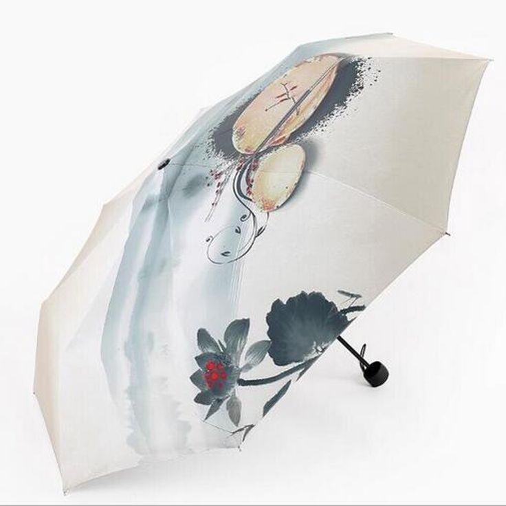 зонт Новый маслом зонт романтический три складной классический анти уф / дождь прочный автоматический зонты мужчины женщины зонтик # S570 купить на AliExpress