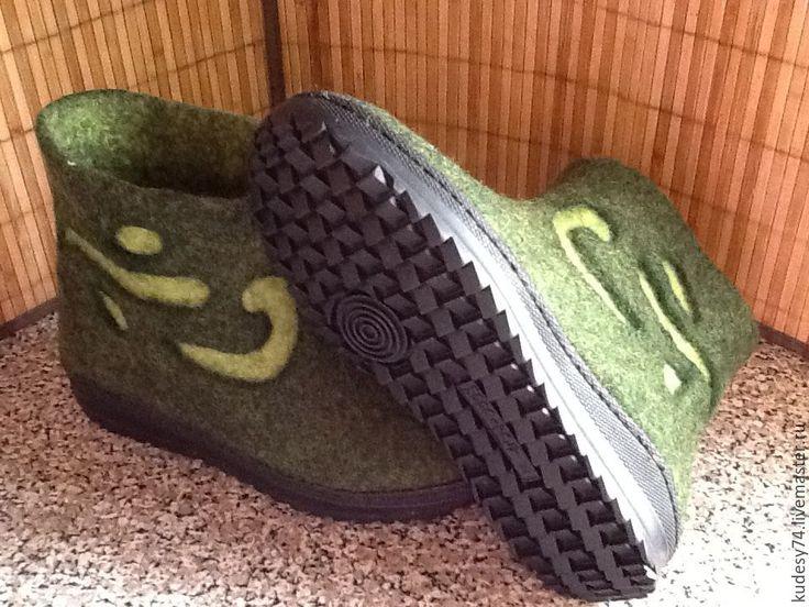 Купить Валяные ботинки - зеленый, Женские ботинки, ботинки валяные, женские сапожки, ботинки мужские