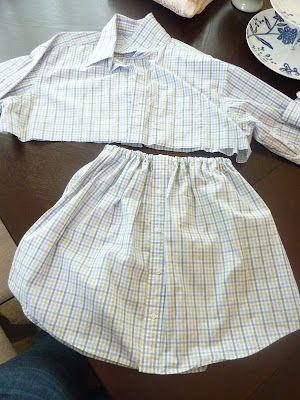 tutorial for simple girls' skirt from old men's shirt. (old shirt. not shirt from old man.)