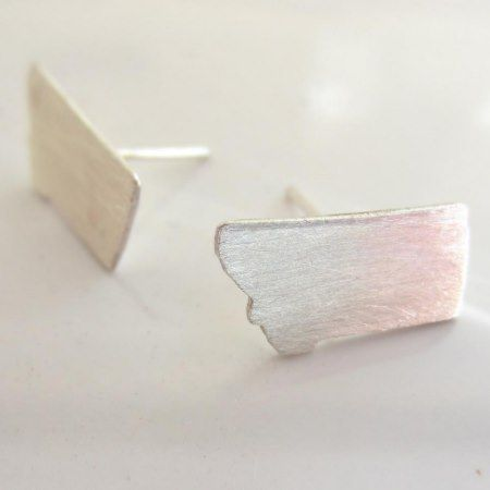 Tiny Montana State Silver Stud Earrings  - click to get yours right now!