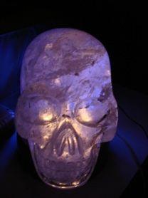 Akator, the crystal skull, illuminated.