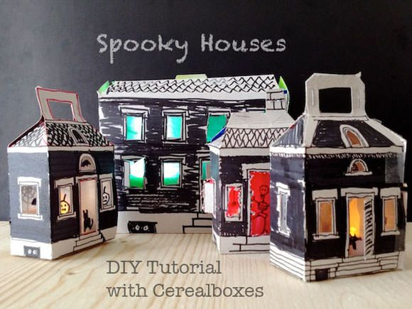 DIY Light-Up Cereal Box Spooky Houses for Halloween by Natalie Kramer via Handmade Charlotte