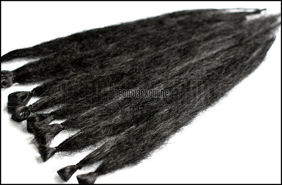 Single ended dread extensions - Black natural dreads - set of 10