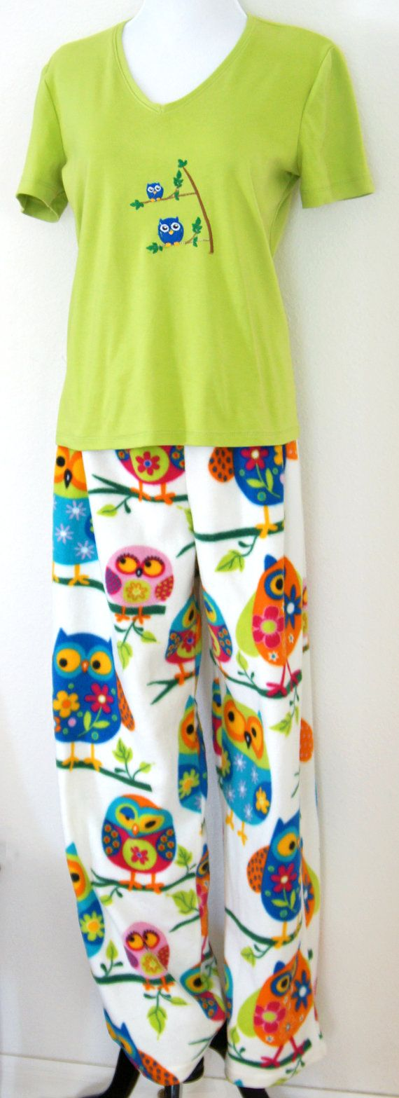 Fleece Pajama Set - Women's Two-piece Shirt and Long Pants Sleepwear - Ladies Loungwear Colorful Owl Pattern Green Embroidery Unique Holiday