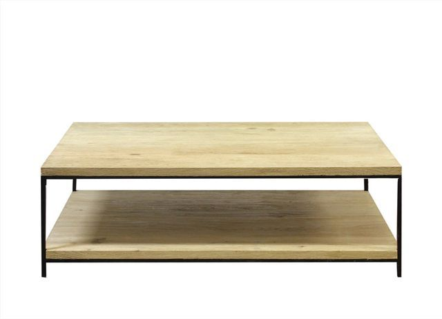 Brushed oak coffee table with shelf