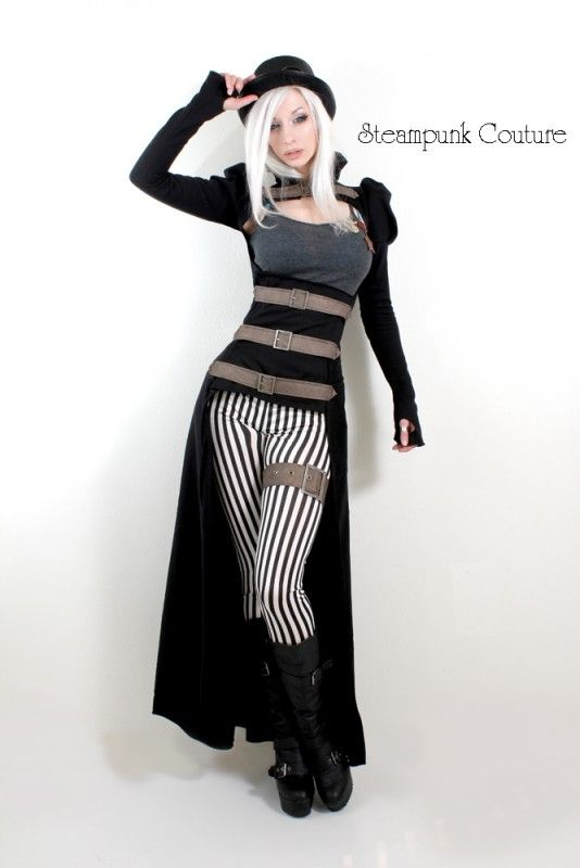 Steampunk Couture: Black and white thin stripe skinny fit pants
