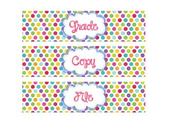 """Organize your desk and all those student papers with these drawer labels. There are five 8"""" x 2"""" labels included in this download: Grade, Copy, File, Extras, and a blank one to label as you choose. Even though this is a free product, feedback is greatly appreciated!!"""