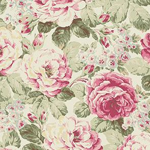Bavlněná látka Velké růže na bílé Prima