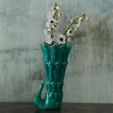 Teal Peacock Fluted Vase - Home Accessories - Shop By Category - New For Summer