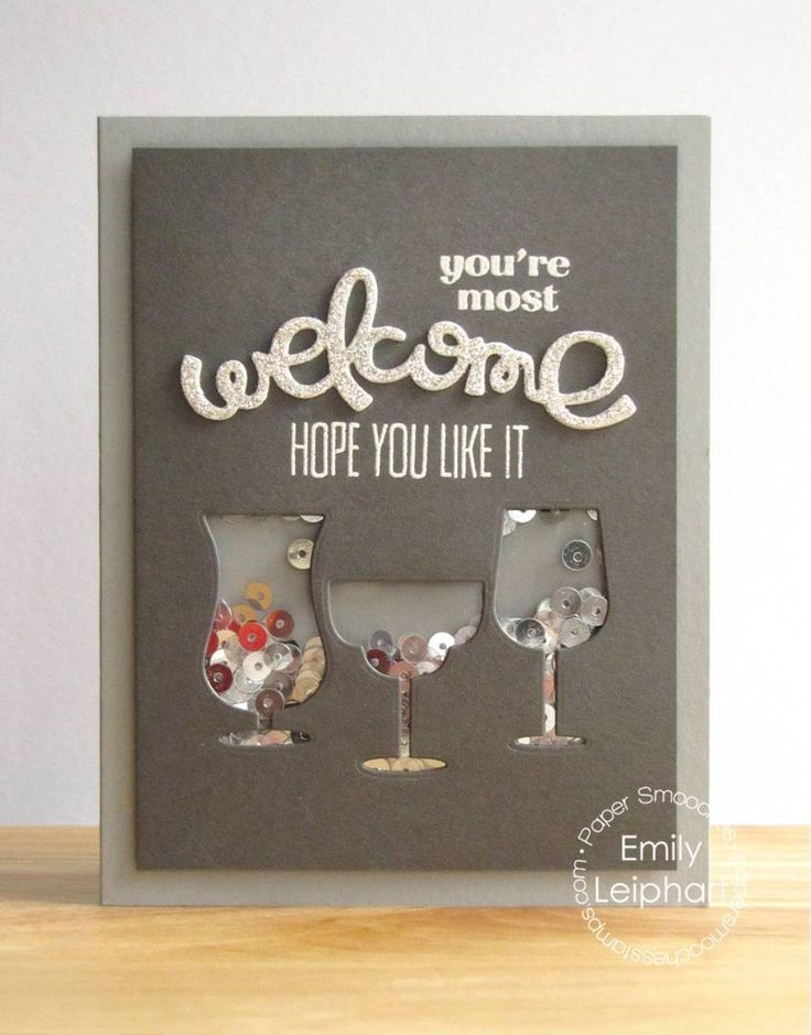 Card by PS DT Emily Leiphart using PS The Welcome Wagon, Drink Glasses dies