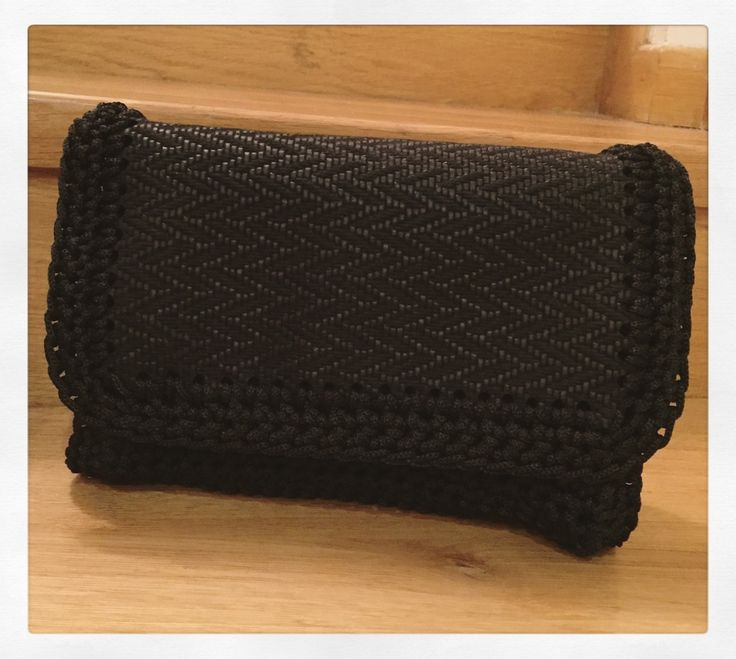 Handmade crochet leather flap bag by Urban Queen
