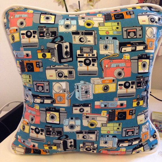 45 x 45 cm (18in) handmade cotton cushion cover, with vintage/retro cameras on blue with a spotty reverse