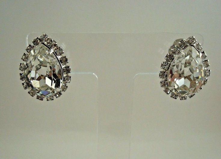 Vintage Carnegie Rhinestone Earrings Silver Tone Clip On Teardrop Signed  #Carnegie #ClipOn
