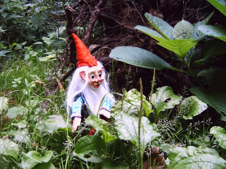 Little gnome in the forest. Rodpuppet made by Thomas Weber - Kaboutertje in het bos. Stokpop gemaakt door Thomas Weber