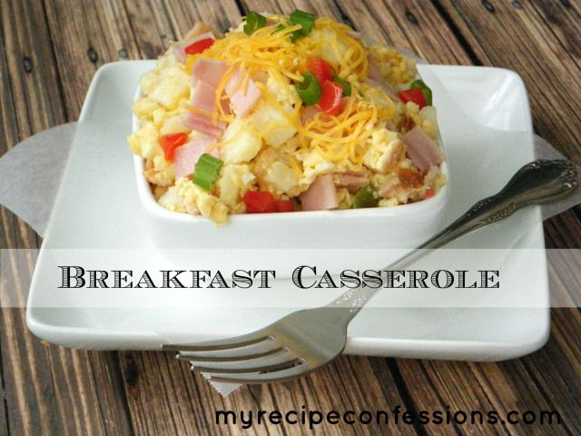 Breakfast Casserole 32 oz. bag of frozen potatoes (O'Brien hash-browns) 8 large eggs 1 ½ cup of half and half 1 tsp. salt 1/3 tsp. garlic po...