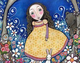 Childrens Wall Art Print A3 Summer Tree folk by LindyLonghurst