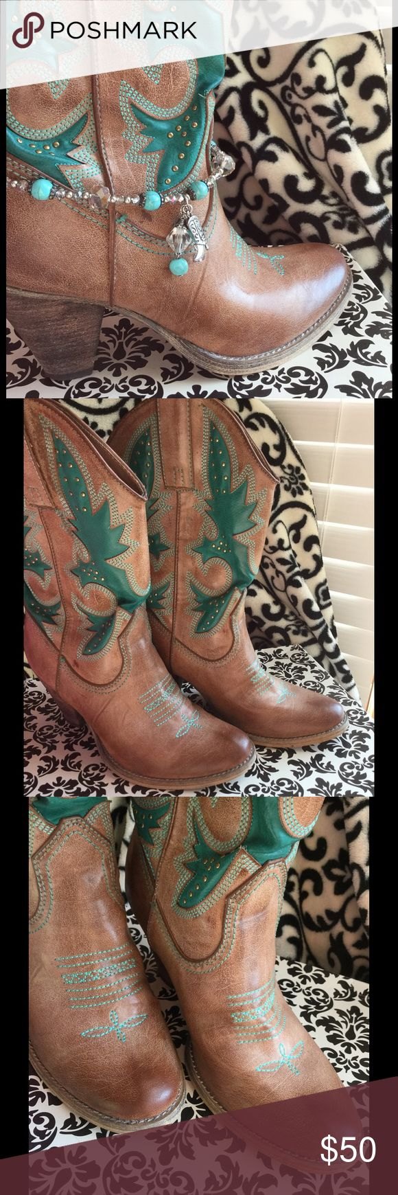 Rio Grande cowboy boots (gift with purchase) Size 8.5 from Very Voltaire.  Gently loved condition. Worn just a few times.  Includes turquoise boot charm gift. Please note flaw on right boot in third listing photo. Very Voltaire Shoes Heeled Boots