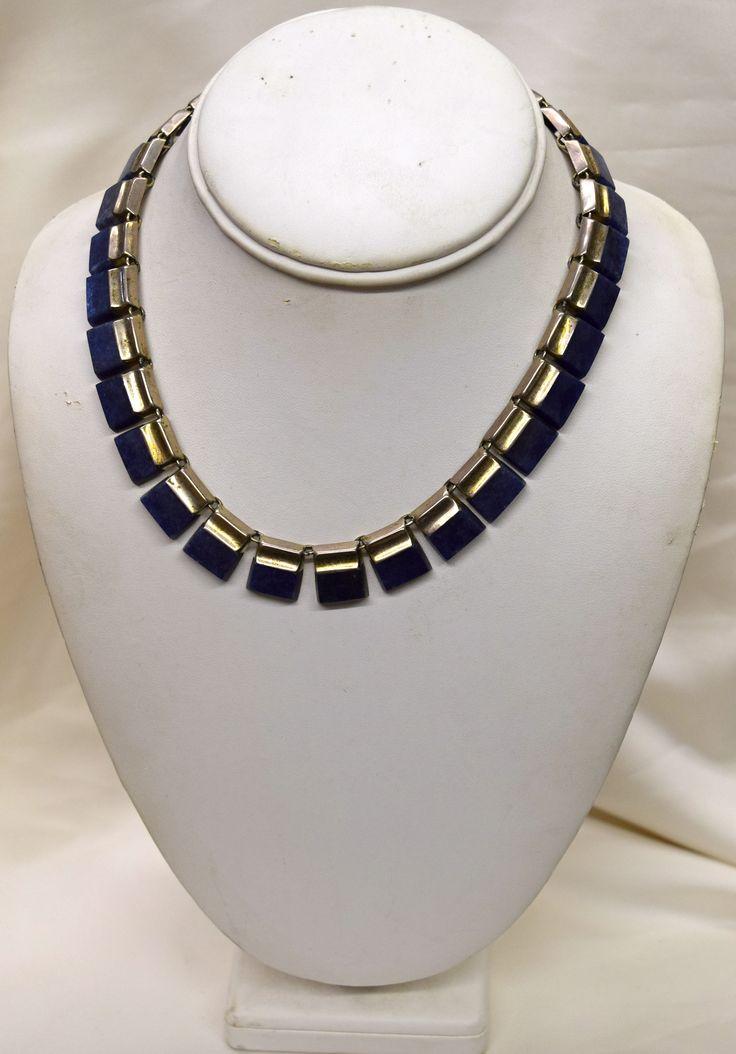 Vintage Lapis Lazuli set in Silver Necklace
