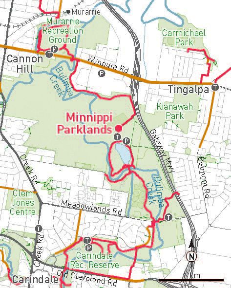 The Minippi Parklands in Brisbane is a beautiful spot to take the whole family riding. There's a playground, bbqs, and a lake.