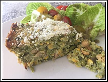Mashed Pea & Corn Slice - We found this incredibly tasty recipe in the Vegetarian Kitchen recipe book. We've included additional notes and suggestions in the recipe for alternative ingredients which may be easier to find.